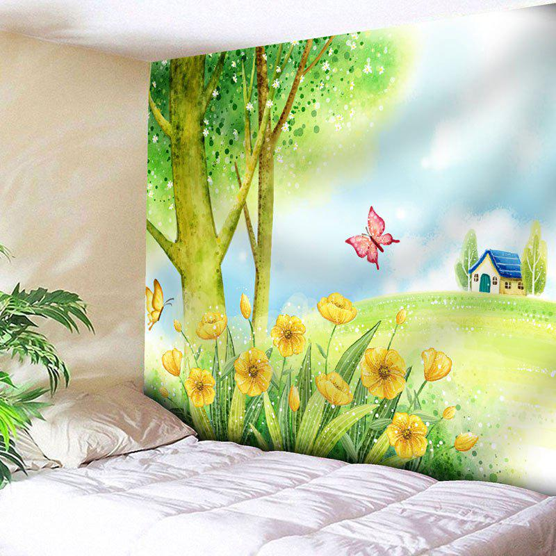 Butterfly Landscape Pattern Wall Tapestry - YELLOW GREEN W91 INCH * L71 INCH