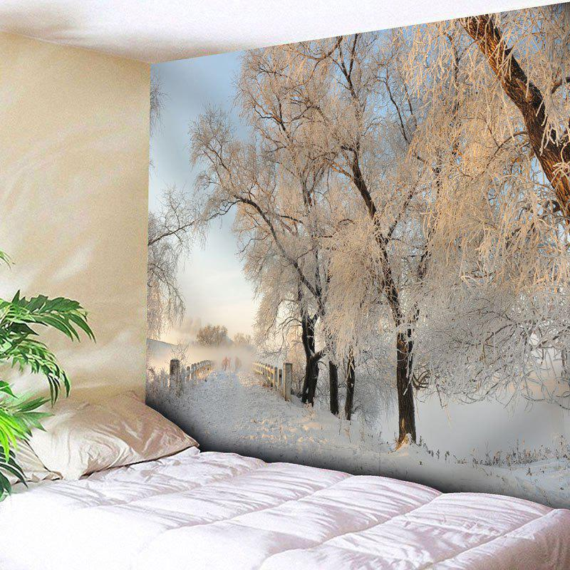Snowscape Bedroom Wall Decor Tapestry - WHITE W91 INCH * L71 INCH
