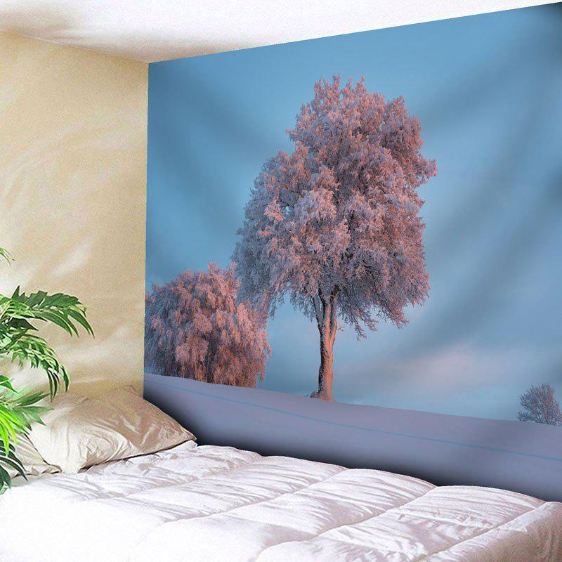 Snowscape Tree Printed Wall Tapestry - CLOUDY W79 INCH * L71 INCH