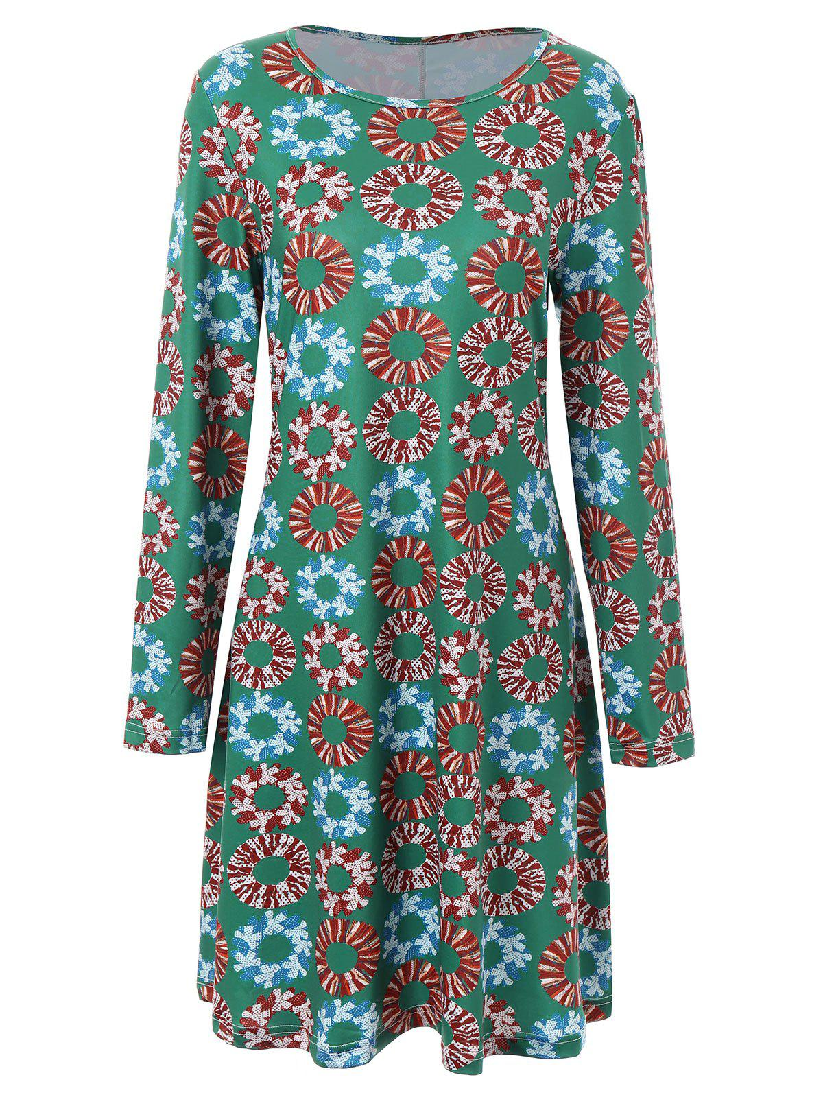 Plus Size Christmas Garland Printed Long Sleeve Dress - GREEN 3XL