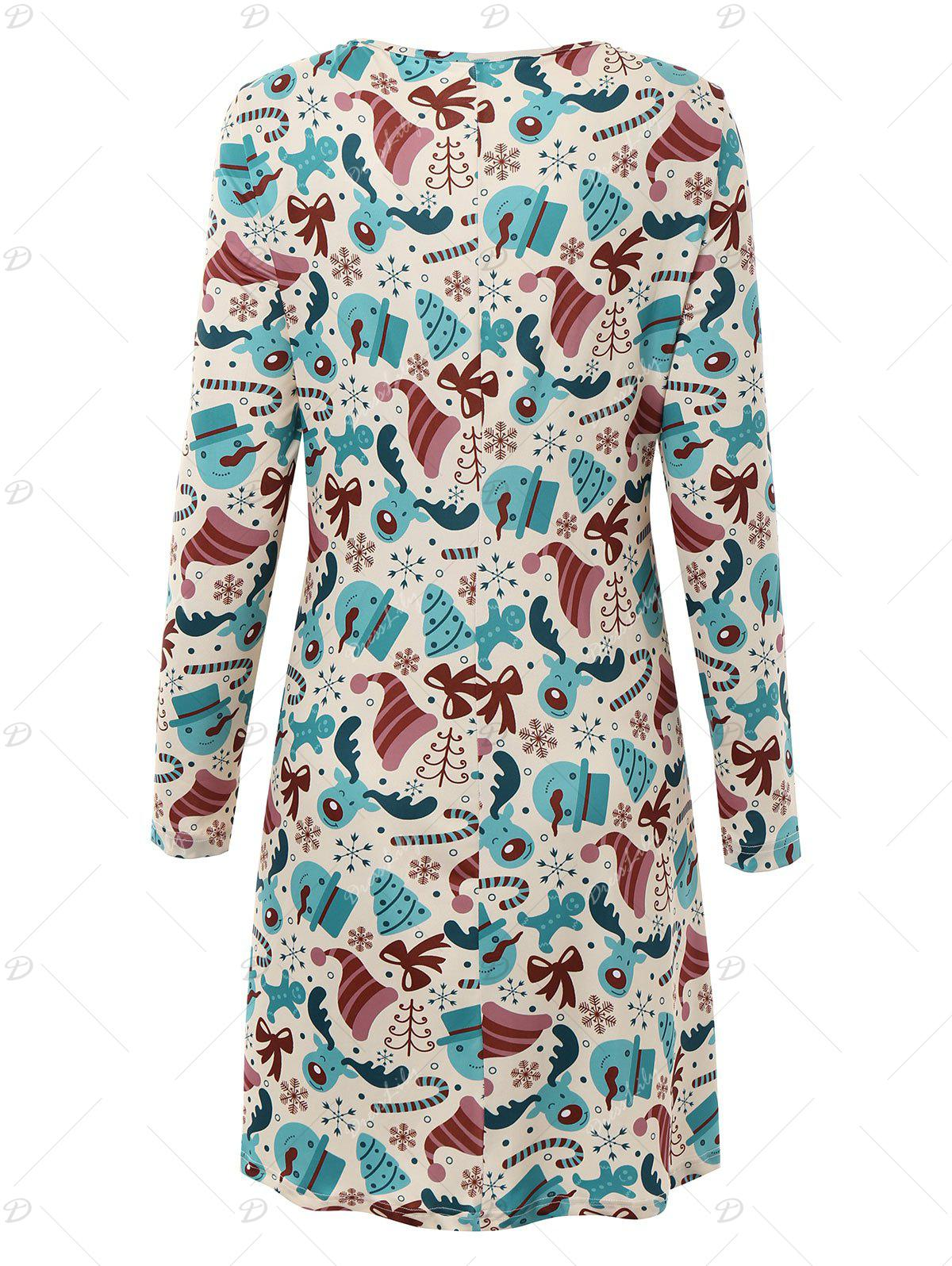 Plus Size Long Sleeve Dress for Christmas Day - multicolorCOLOR 2XL
