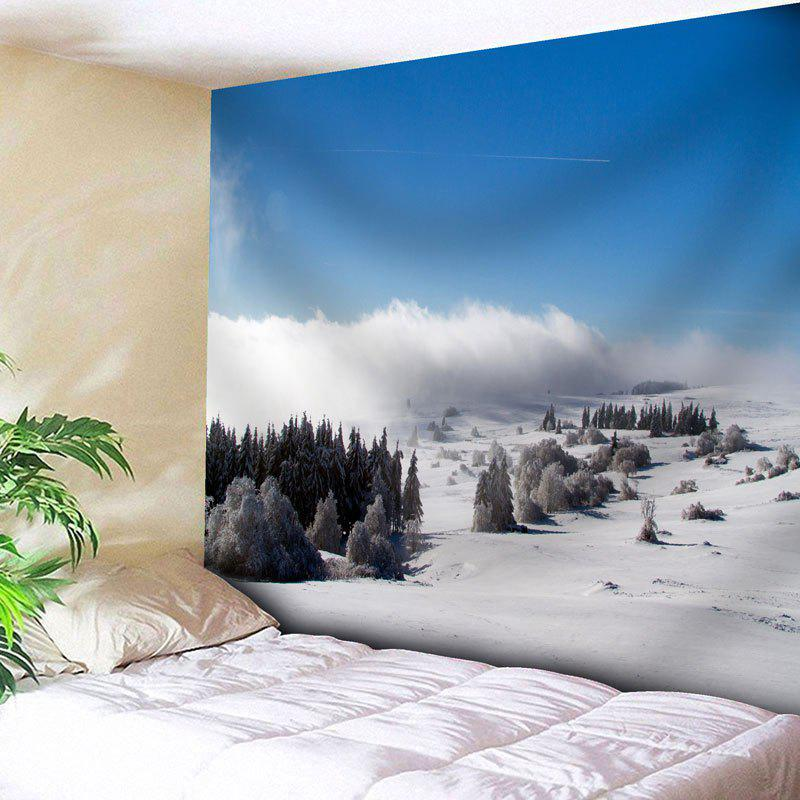 Snowscape Bedroom Wall Hanging Tapestry - SKY BLUE W91 INCH * L71 INCH