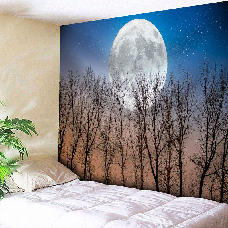Tree Moon Print Wall Hanging Tapestry - BLUE W79 INCH * L71 INCH