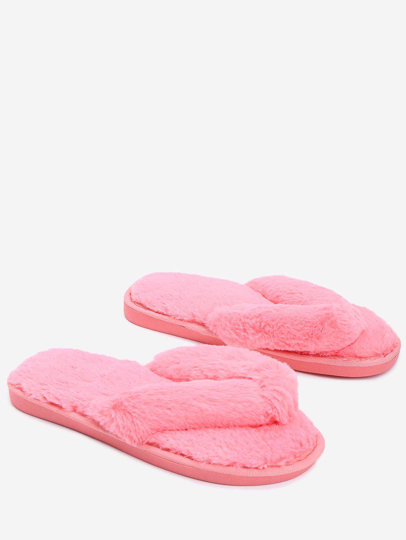 Flat Heel Faux Fur Flip Flop - WATERMELON RED SIZE(36-37)