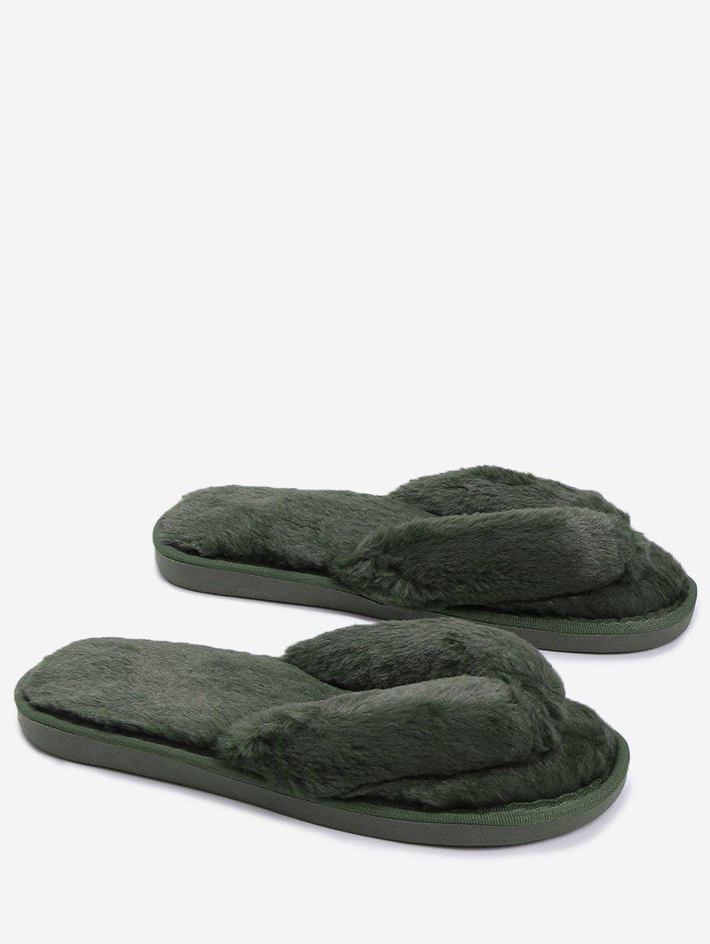 Flat Heel Faux Fur Flip Flop - BLACKISH GREEN SIZE(36-37)