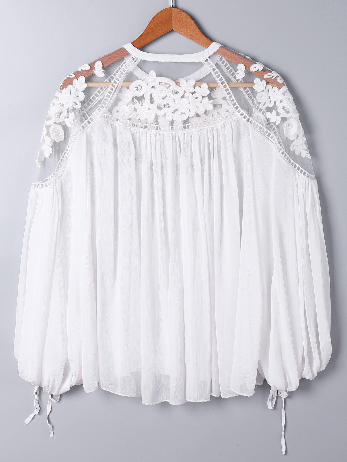 Lace Panel Floral Embroidered Oversize Blouse - WHITE L