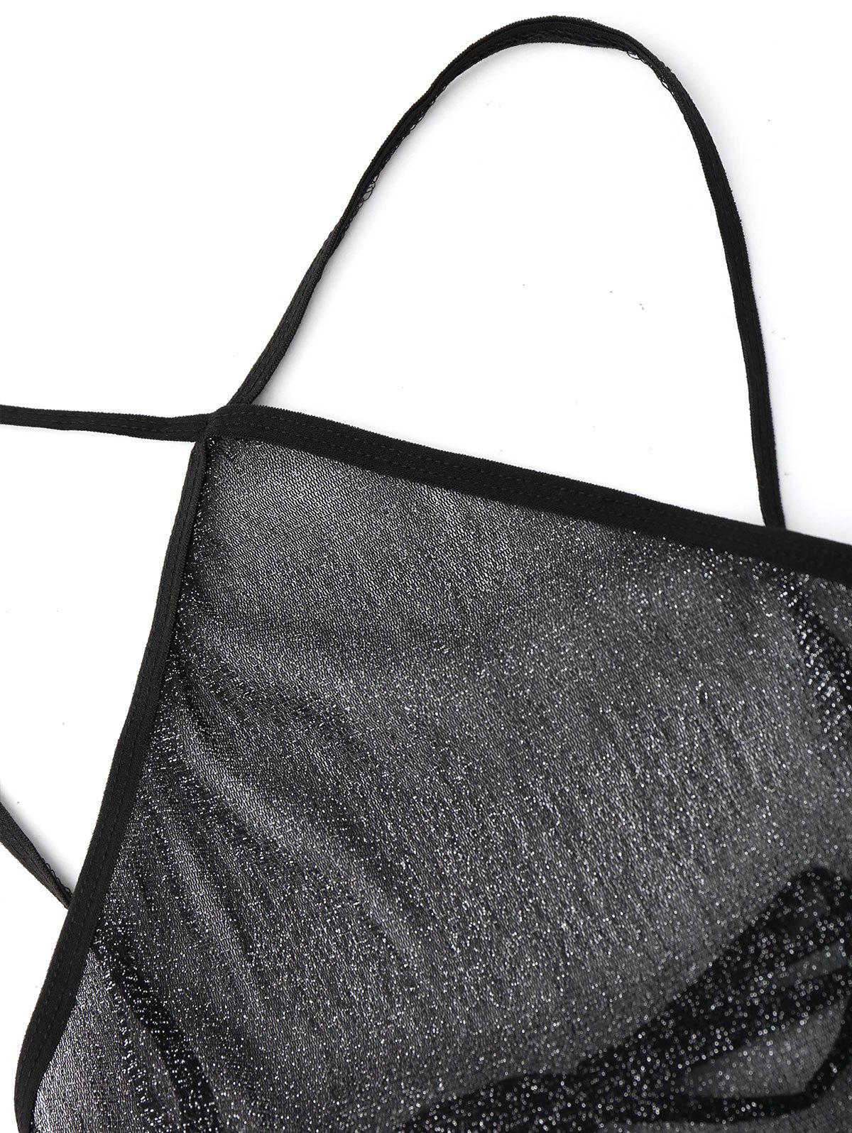 See Through Backless Fitted Babydoll - BLACK ONE SIZE