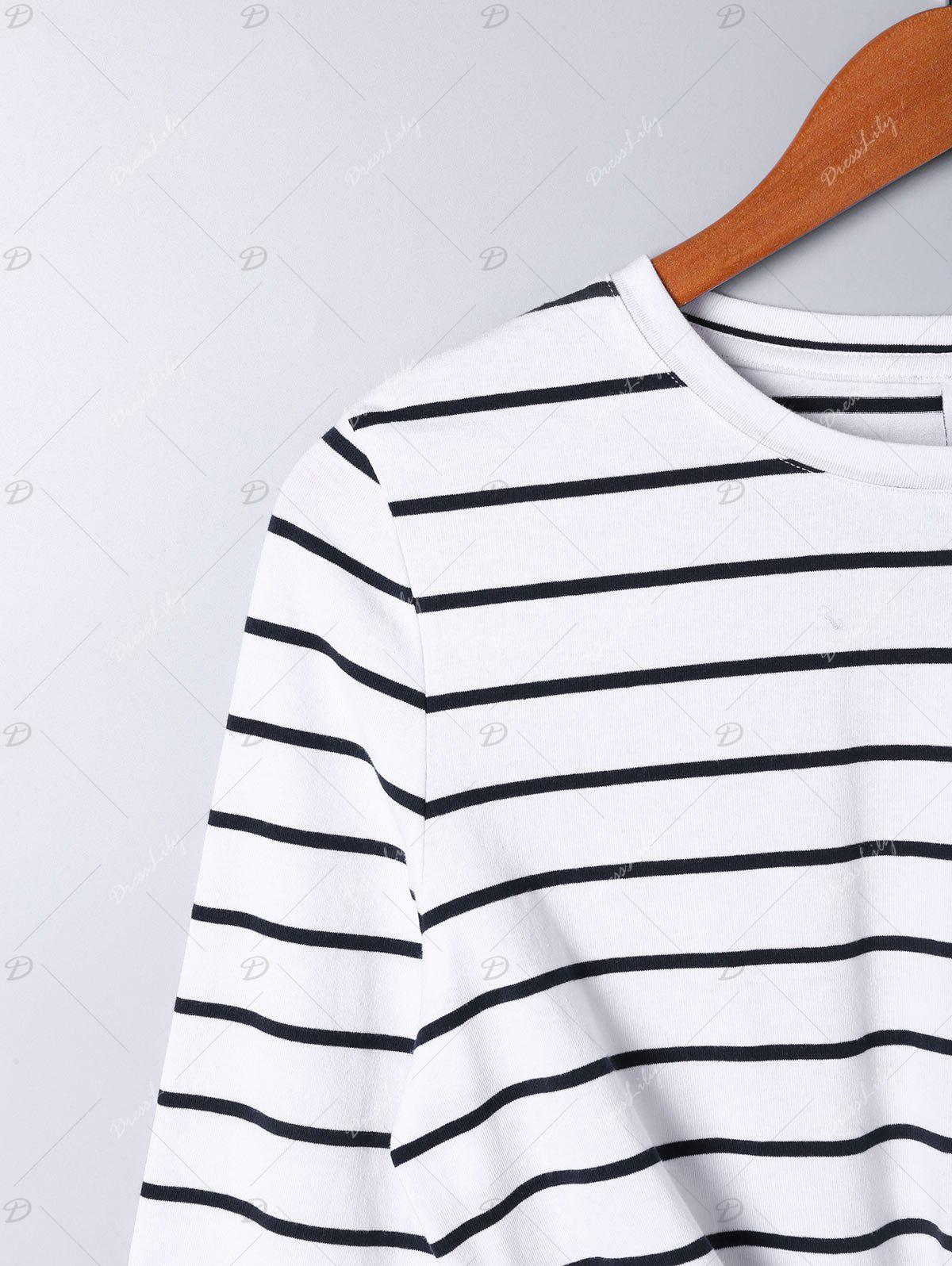 Long Sleeve Front Knot Striped T-shirt - STRIPE M