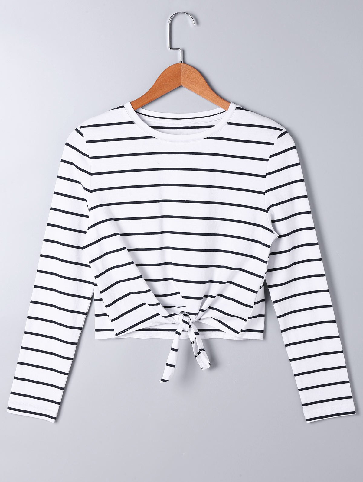 Long Sleeve Front Knot Striped T-shirt knot front keyhole back flounce sleeve striped top