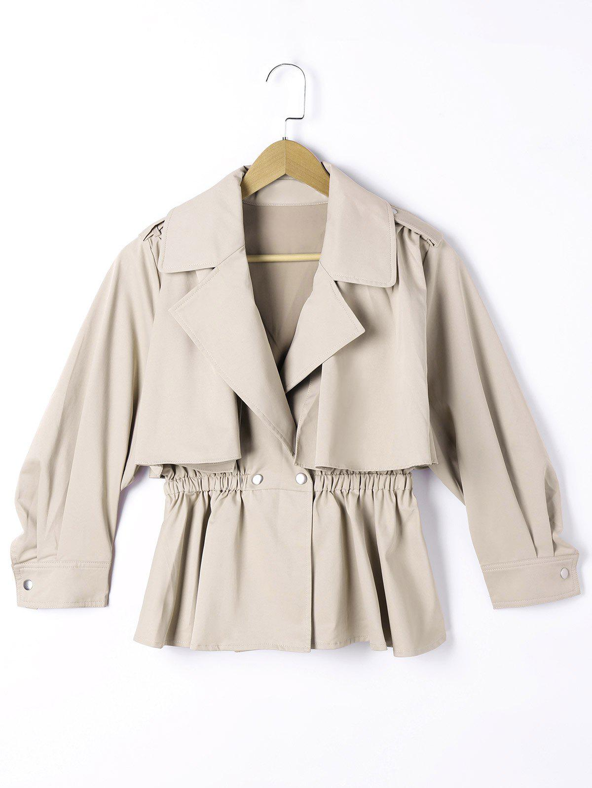 Epaulet Elastic Waist Long Sleeve Overlay Jacket - LIGHT KHAKI M