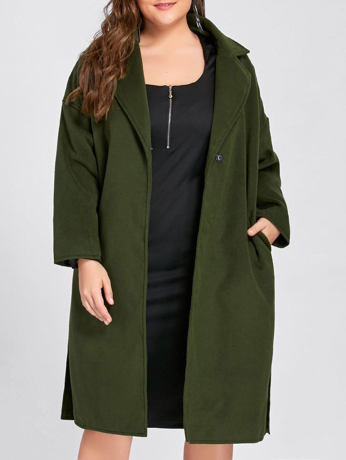 Plus Size Slit Belted Wool Blend Trench Coat - ARMY GREEN 3XL