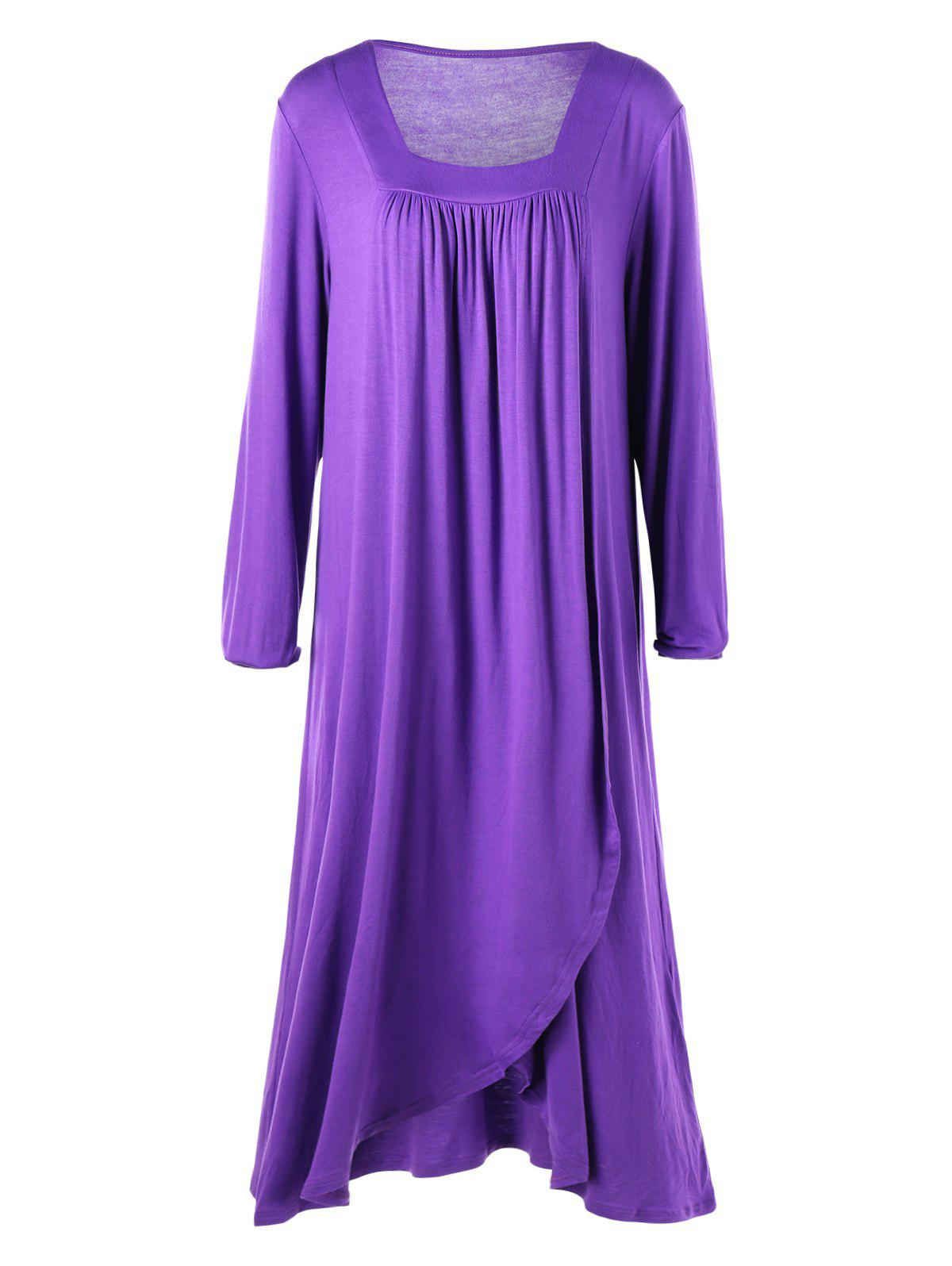 Plus Size Asymmetrical Midi T-shirt Dress - PURPLE XL