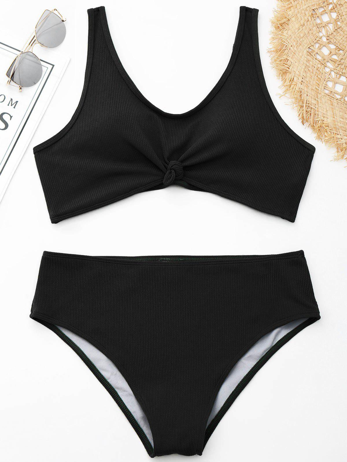Ribbed Knotted Plus Size Swimwear - BLACK 3XL