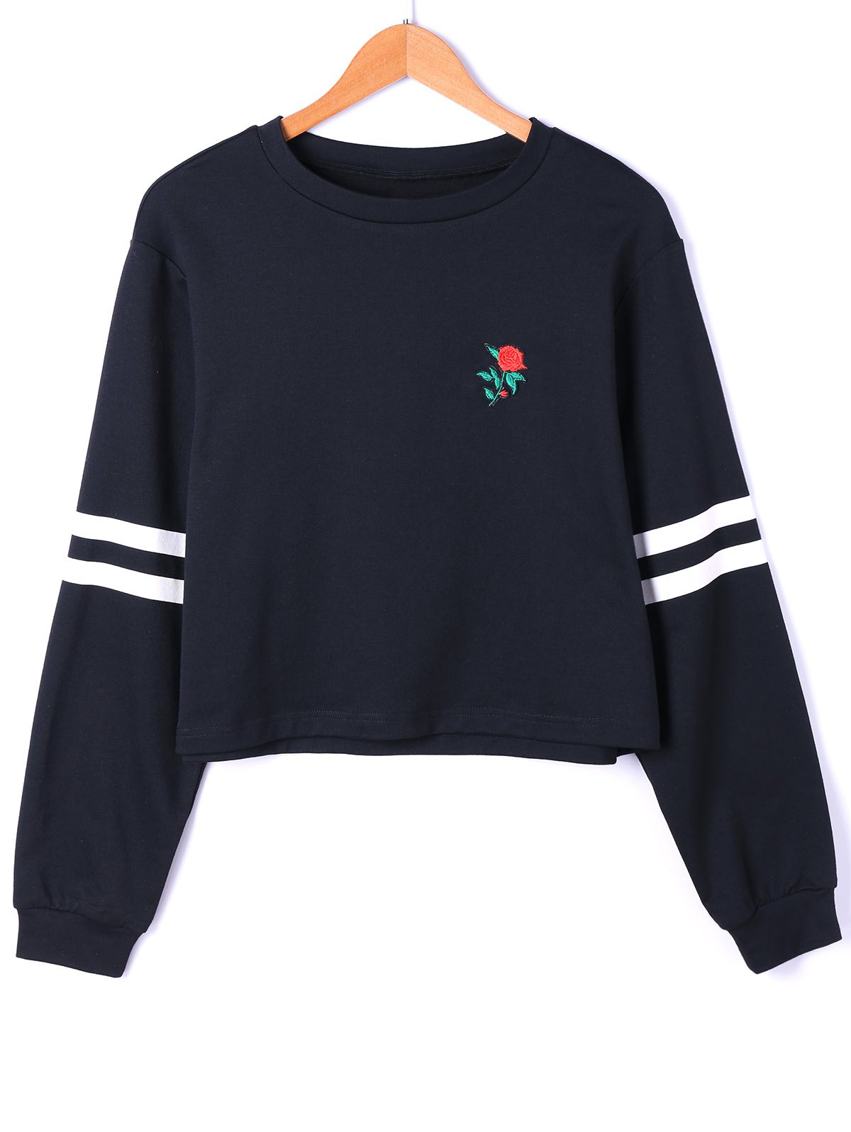 Drop Shoulder Stripes Floral Embroidered Pullover Sweatshirt - WHITE/BLACK XL