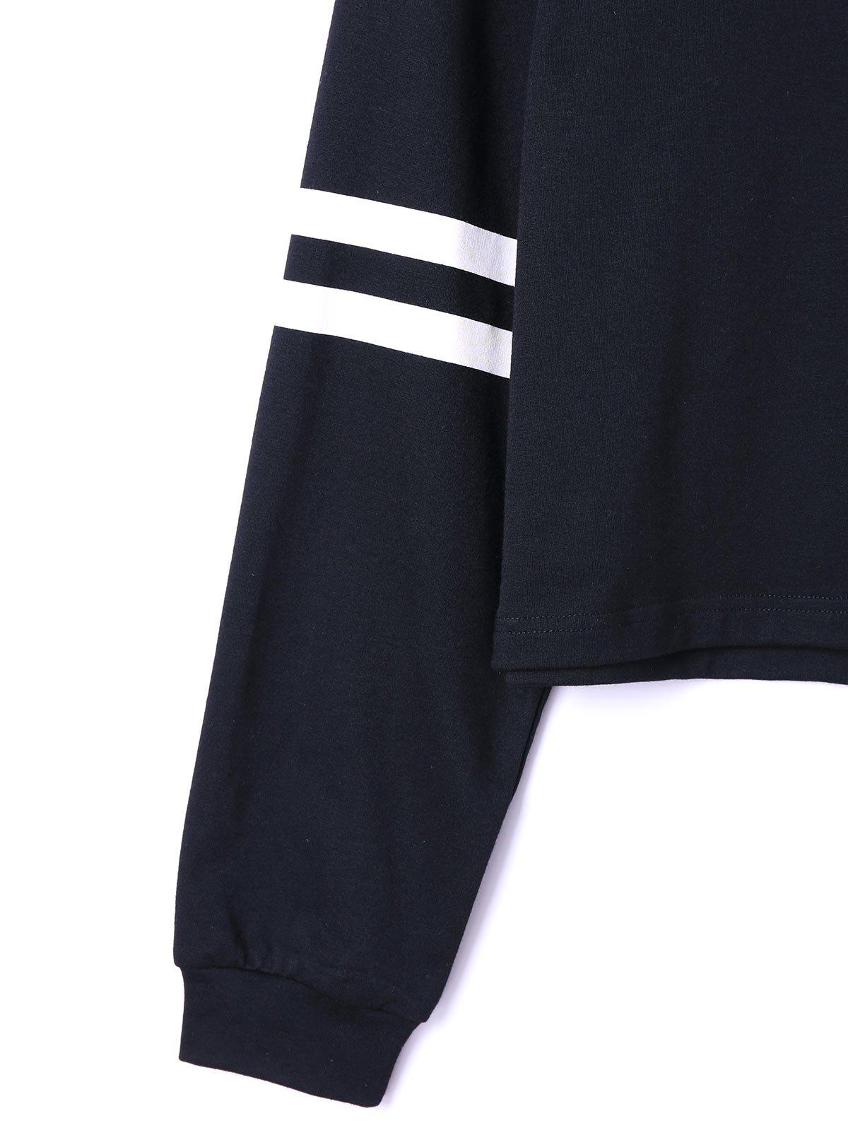 Drop Shoulder Stripes Floral Embroidered Pullover Sweatshirt - WHITE/BLACK L