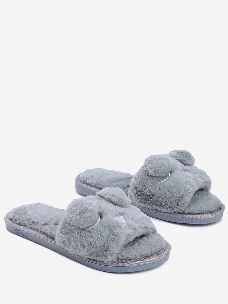 Open Toe Pom Pom Furry Slippers - GRAY SIZE(40-41)