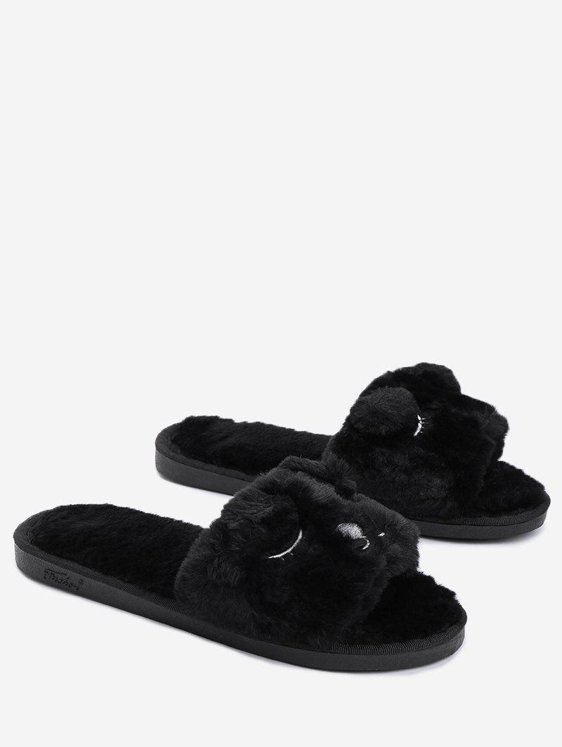 Open Toe Pom Pom Furry Slippers - BLACK SIZE(36-37)