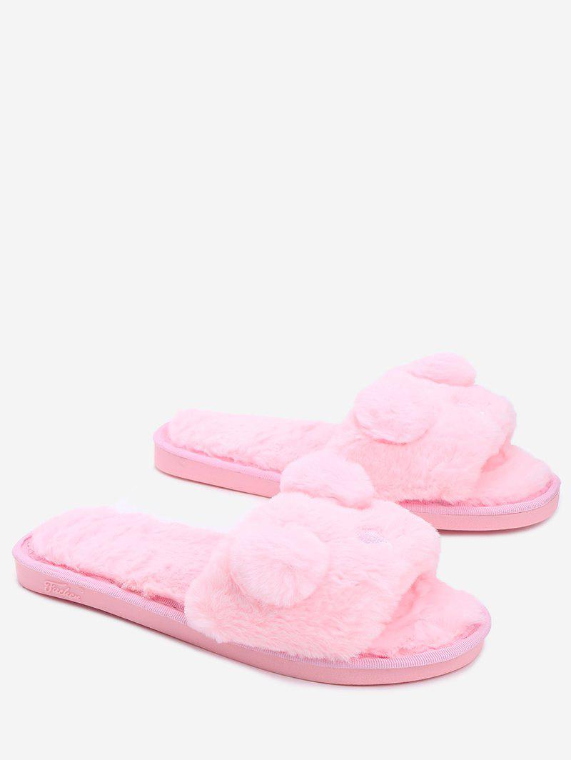 Open Toe Pom Pom Furry Slippers - PINK SIZE(40-41)