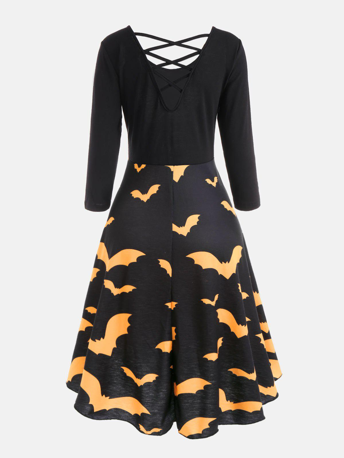 Cross Back Bat Print Fit and Flare Dress - YELLOW S