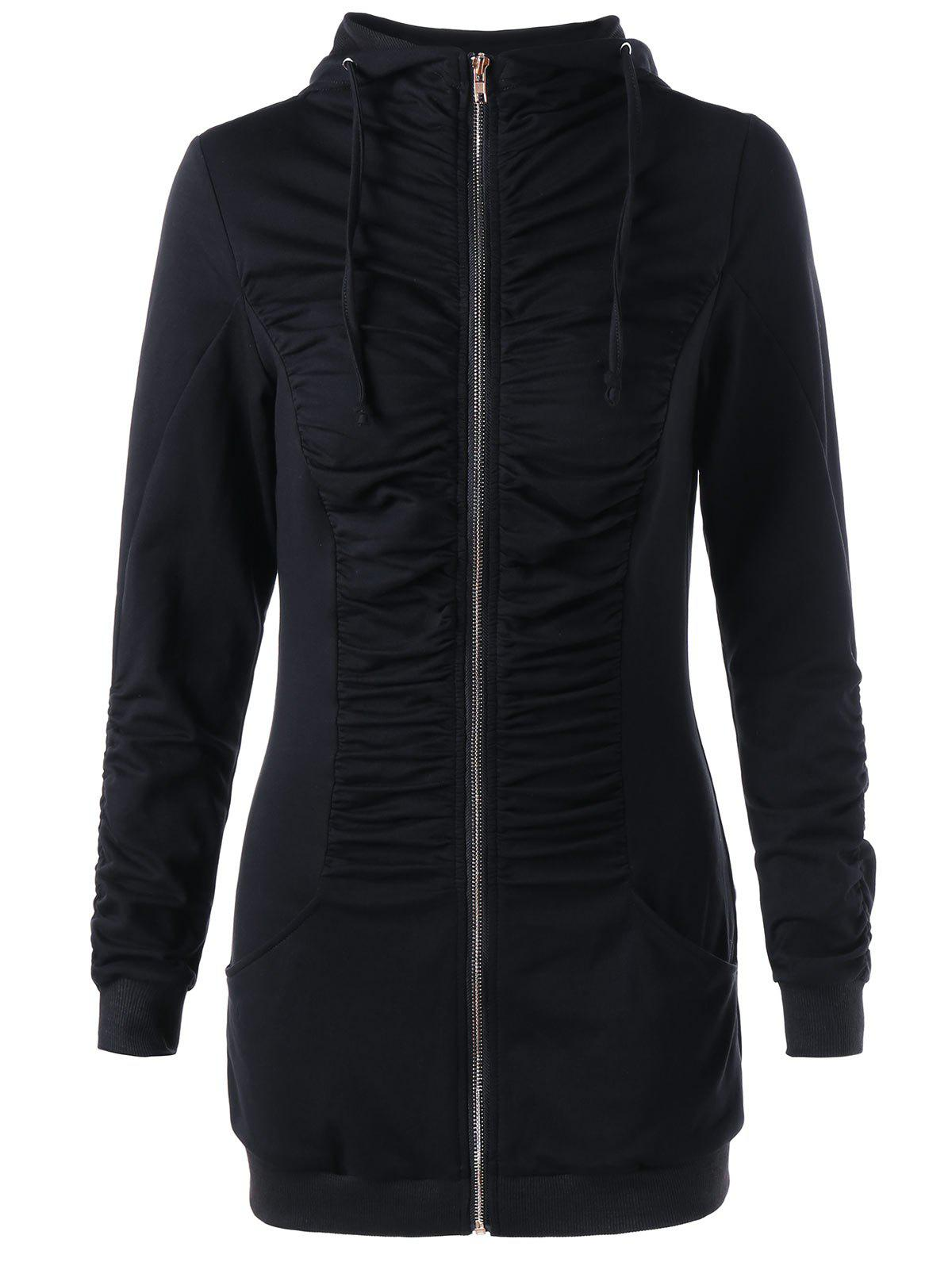 Ruched Zip Up Hoodie - BLACK L