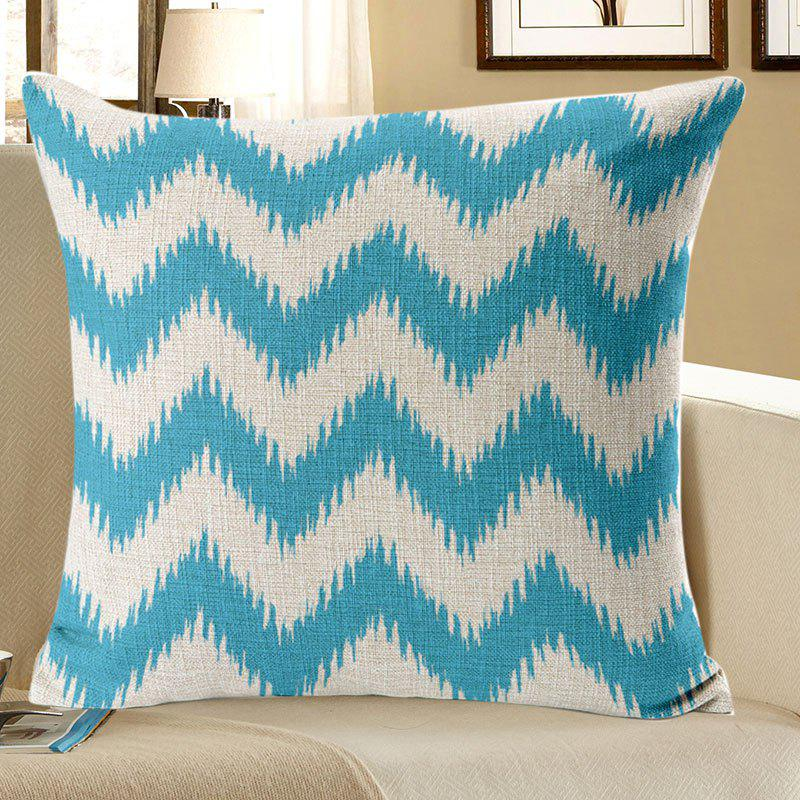 Curve Pattern Linen Pillow Case - BLUE W18 INCH * L18 INCH