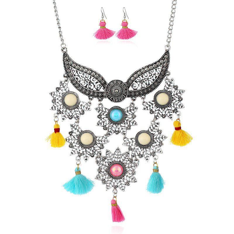Tassel Face Mask Pendant Necklace and Earrings - COLORMIX