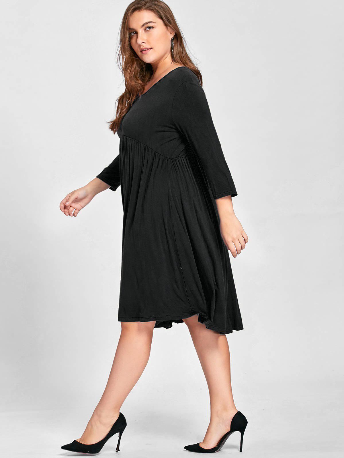 Plus Size Empire Waist Knee Length Dress - BLACK 4XL