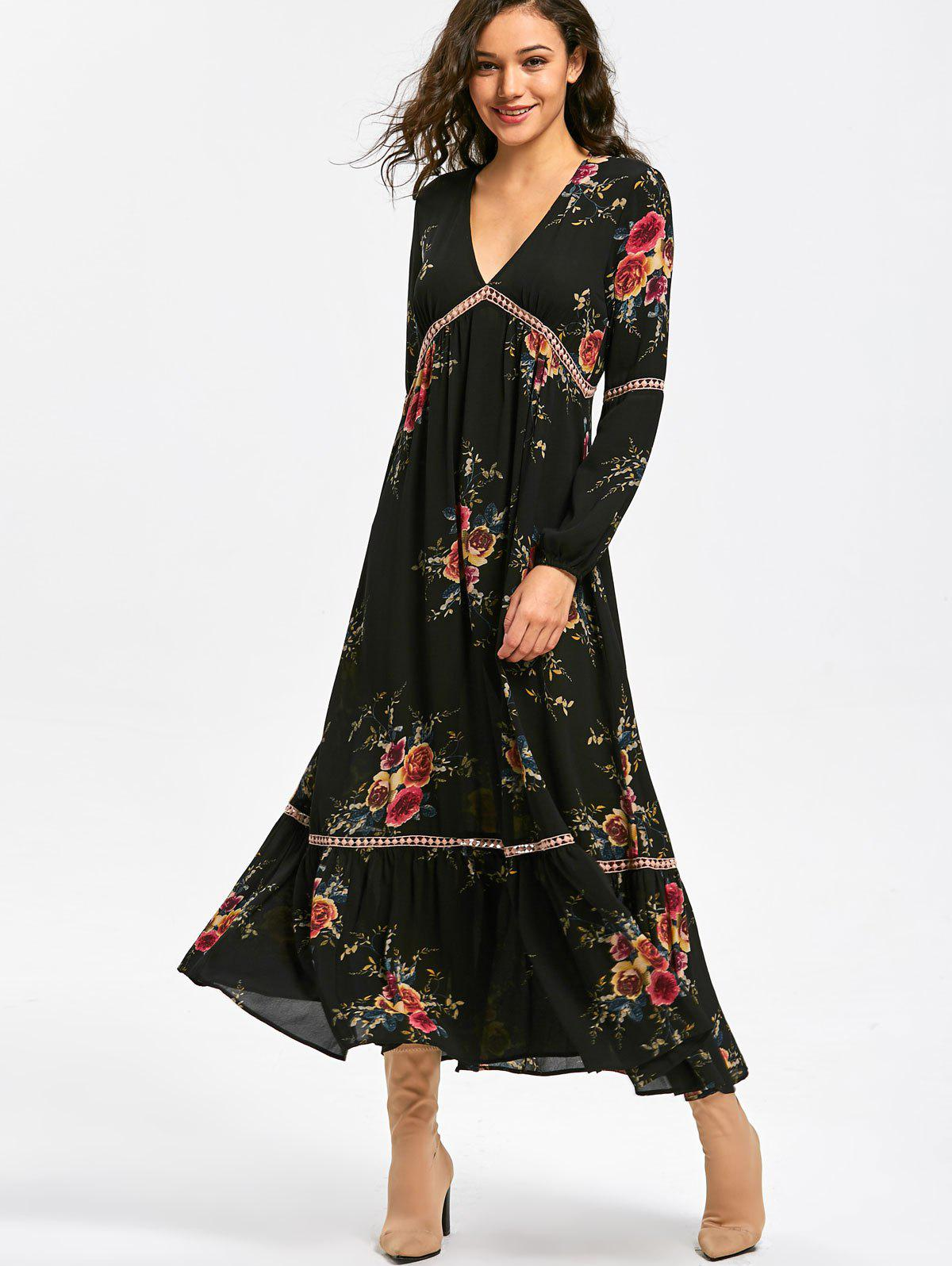 Empire Waisted Floral Print Maxi Dress - BLACK L