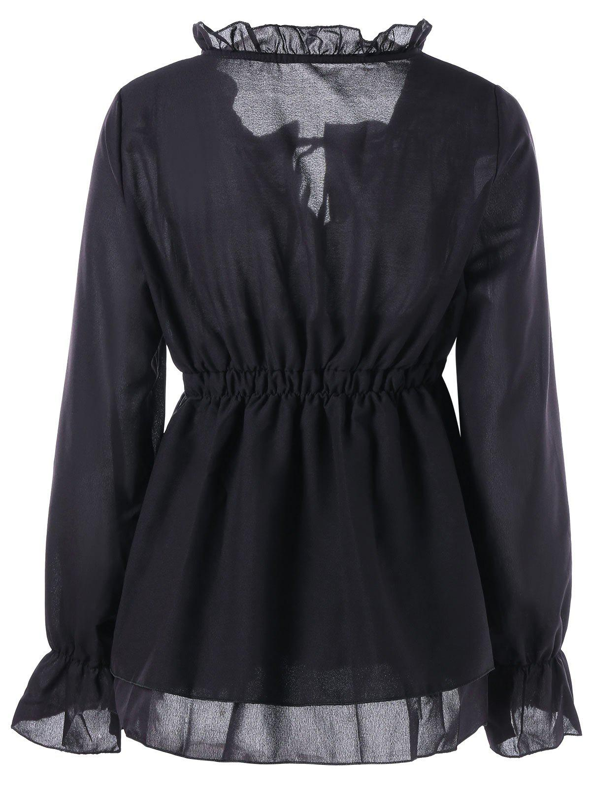Ruffle Collar Peplum Blouse - BLACK L