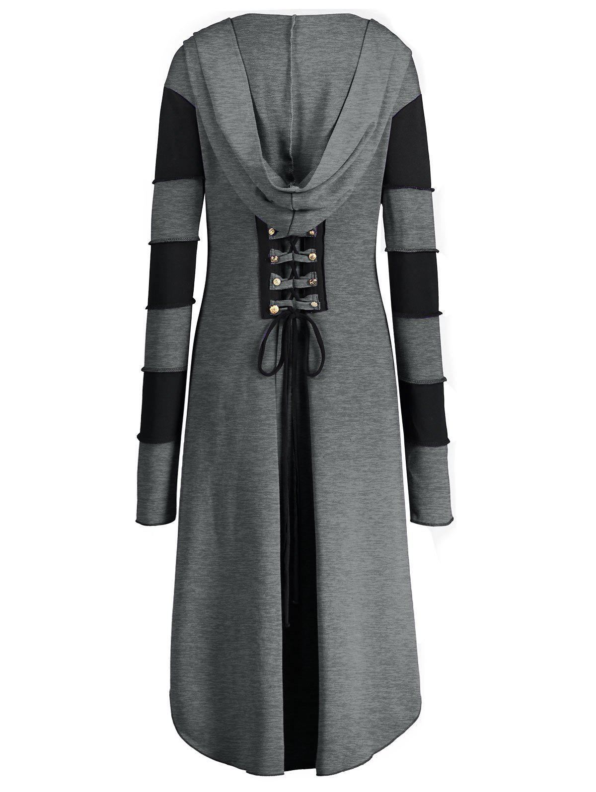 High Low Plus Size Lace-up Hooded Coat - GRAY 3XL