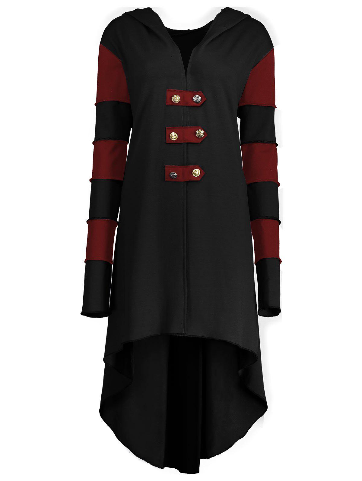 High Low Plus Size Lace-up Hooded Coat - BLACK/RED 4XL