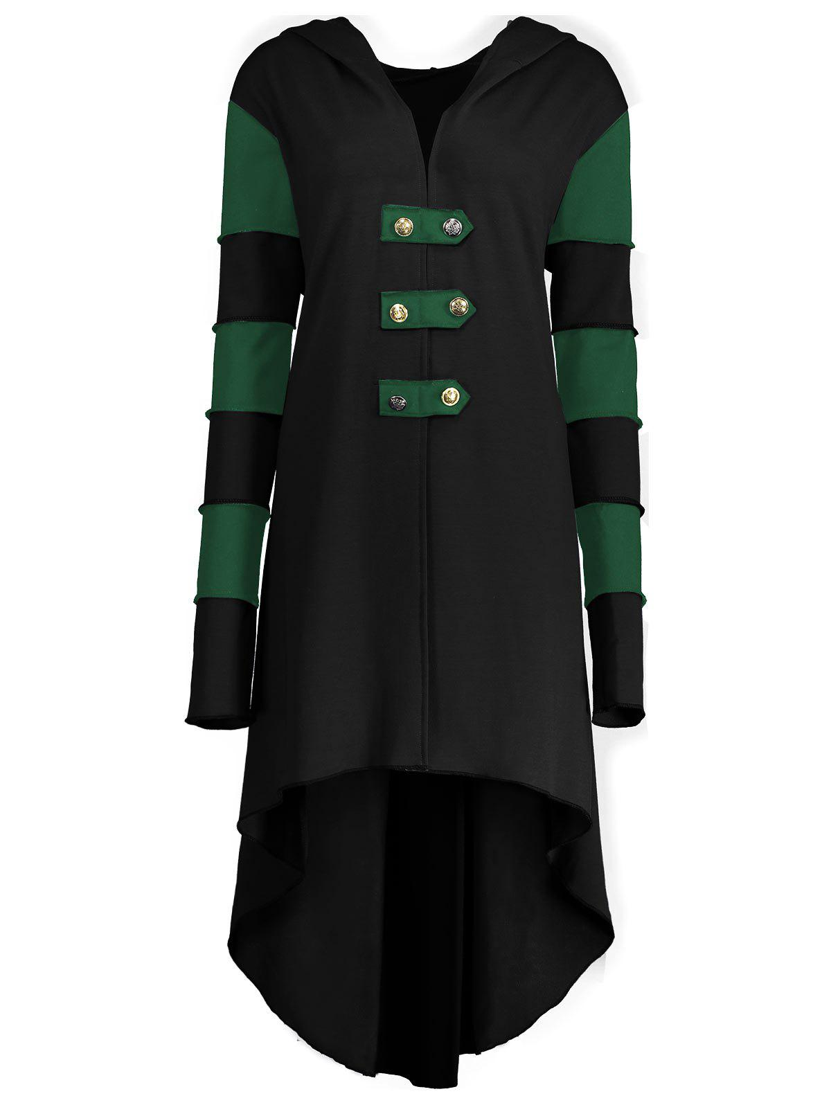 High Low Plus Size Lace-up Hooded Coat - BLACK/GREEN XL