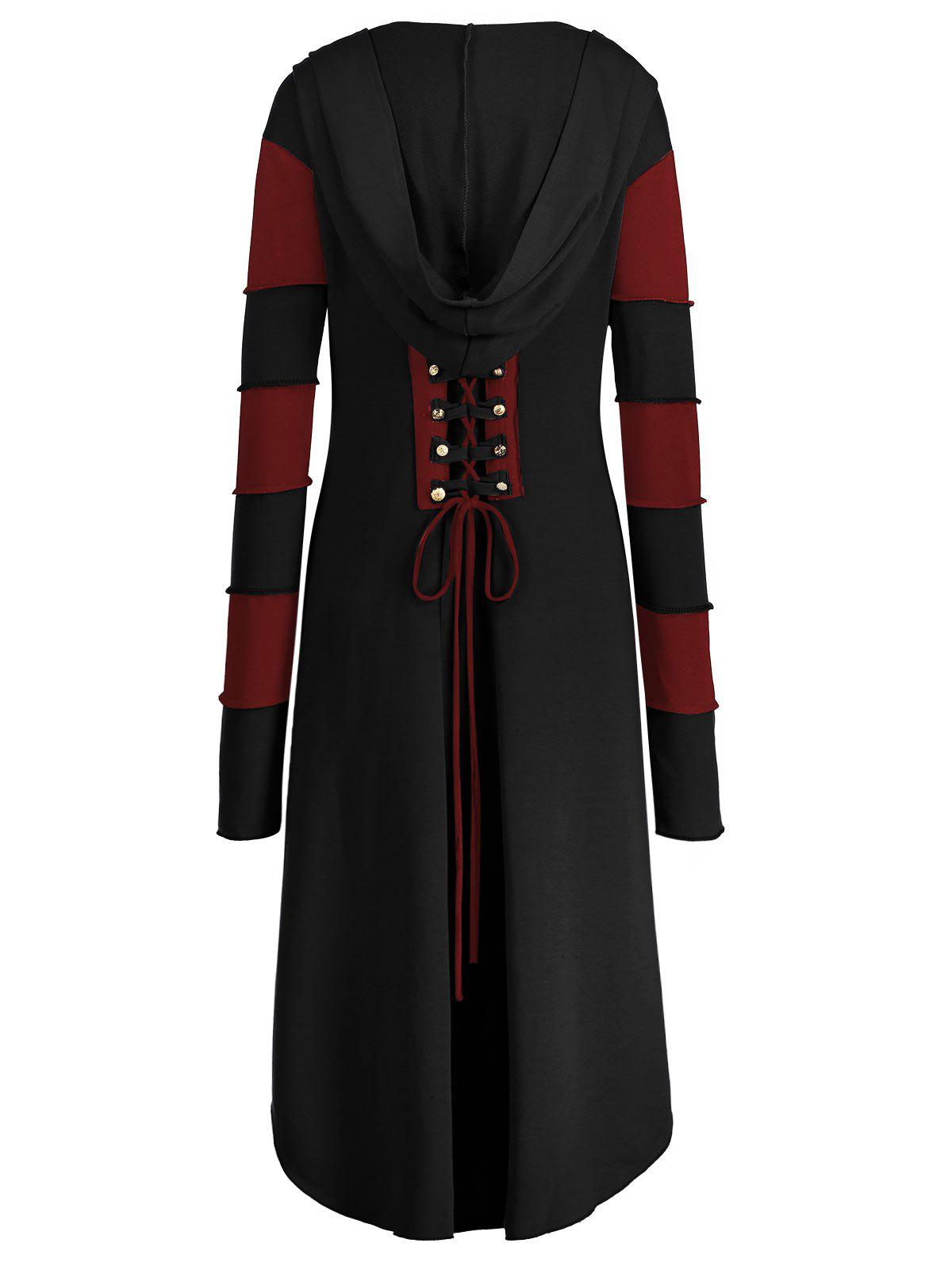 High Low Plus Size Lace-up Hooded Coat - BLACK/RED 2XL