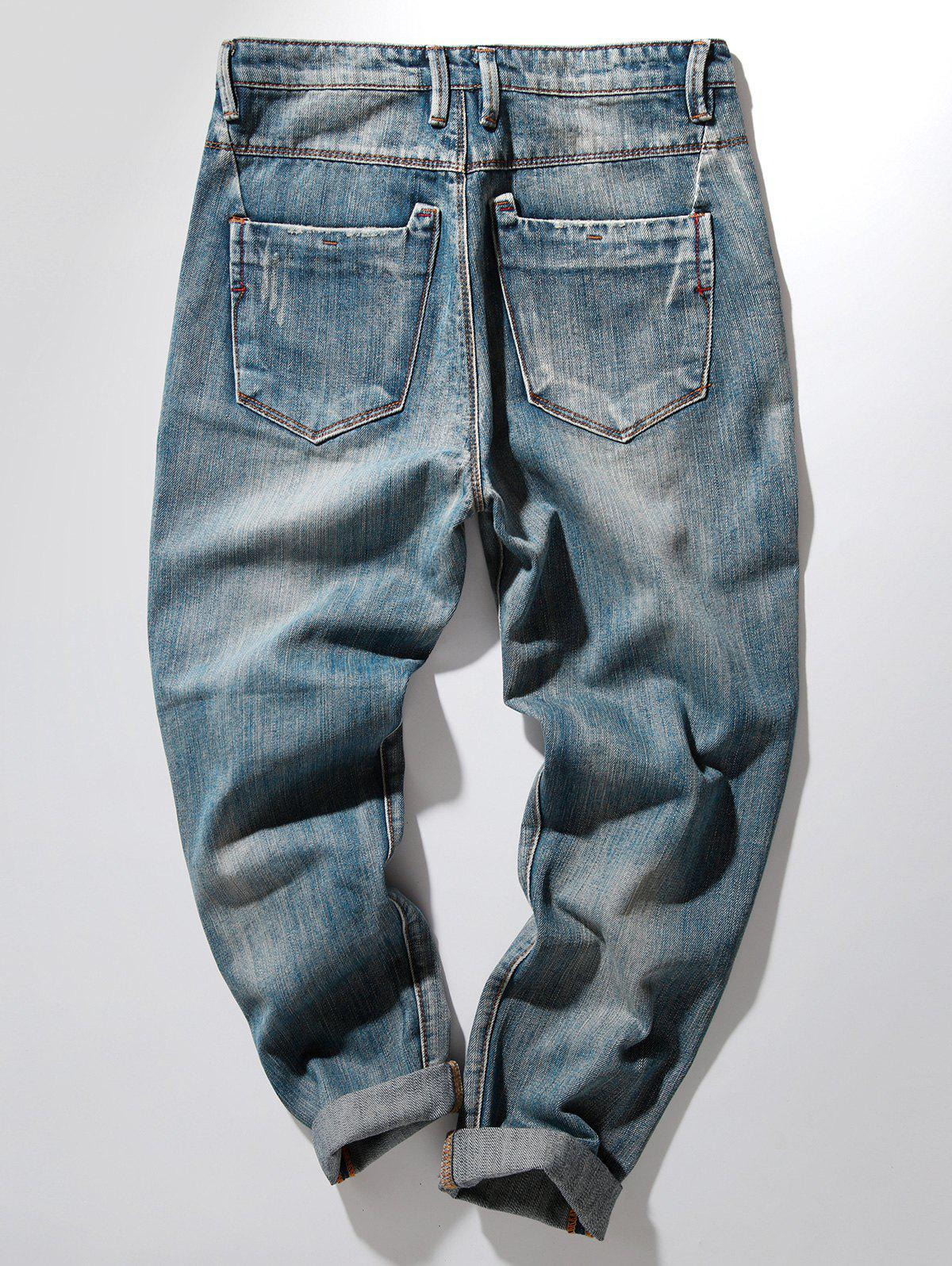 Bleach Wash Harem Distressed Jeans - DENIM BLUE 36