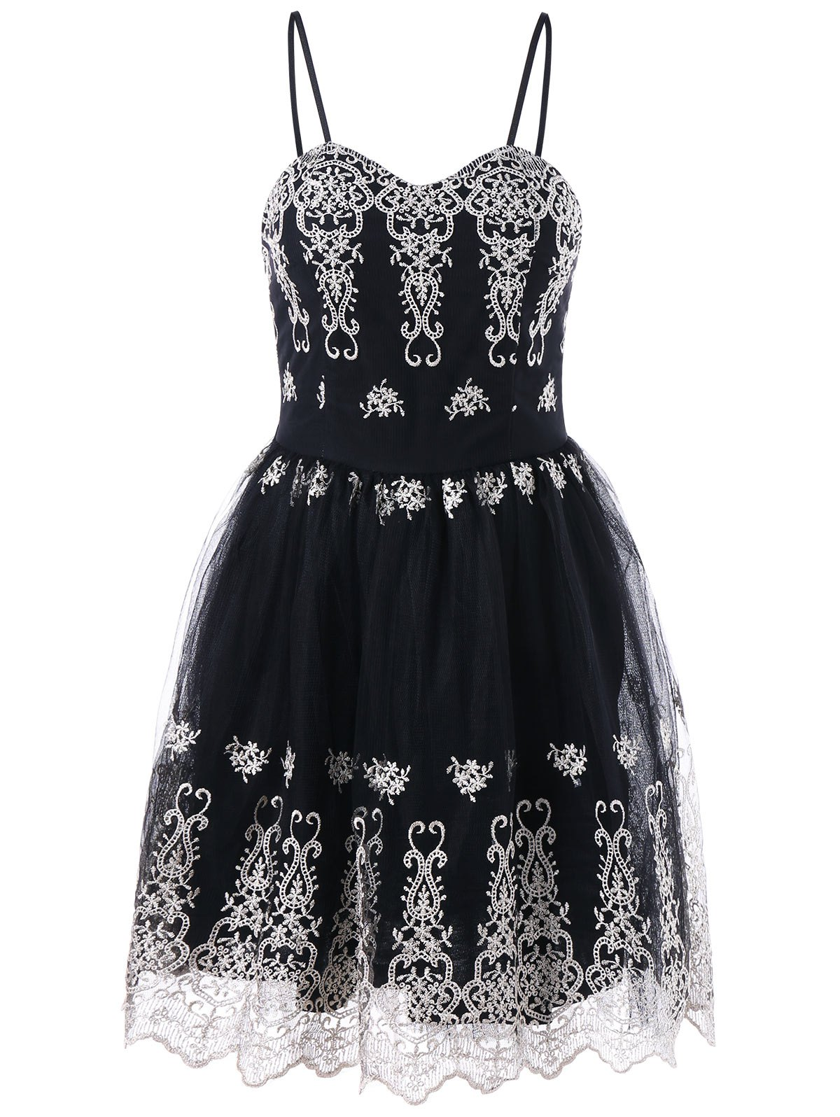Spaghetti Strap Embroidered Mini Party Cocktail Dress - BLACK 2XL