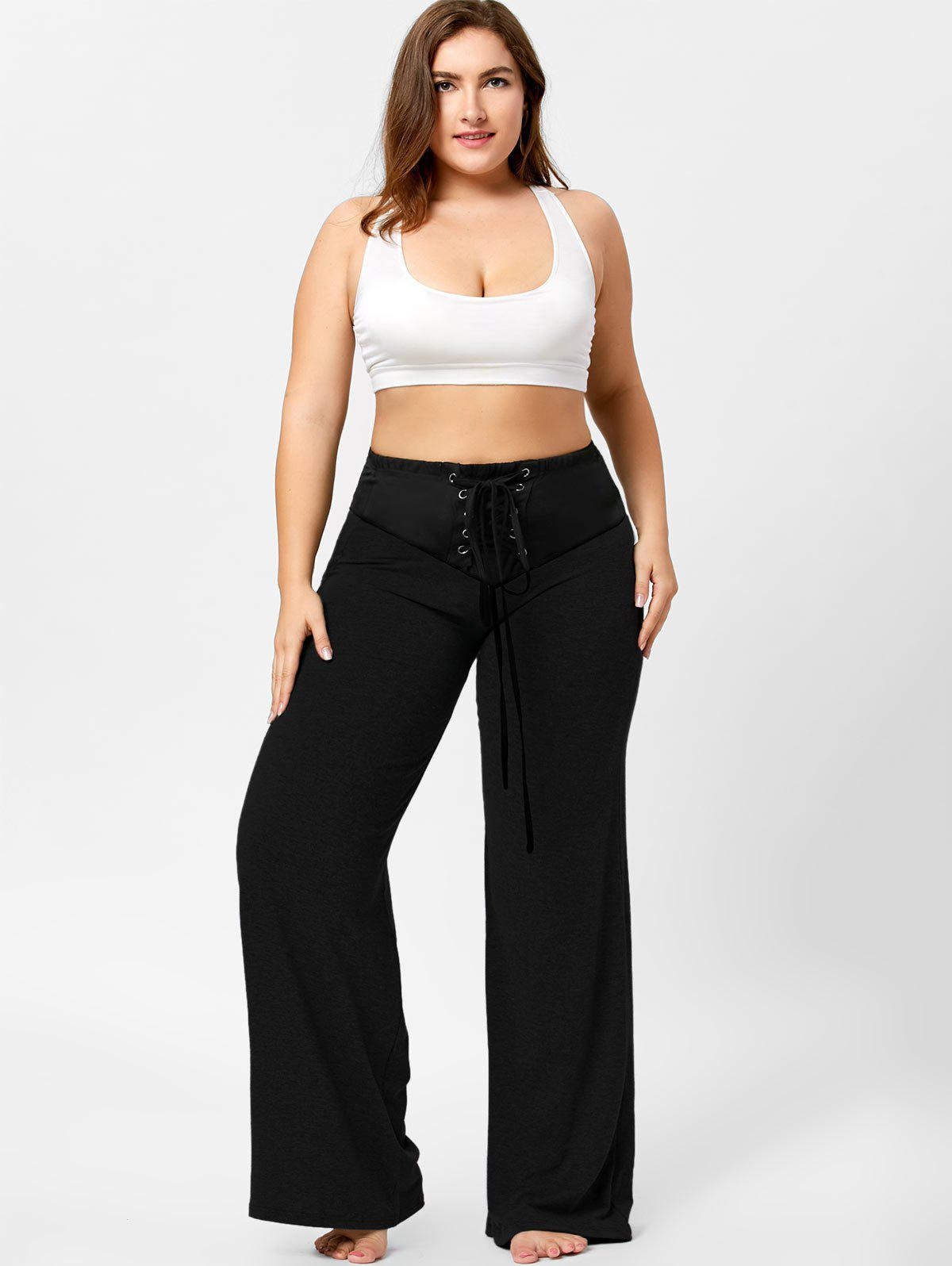 Two Tone Plus Size Lace-up Flare Pants - BLACK 5XL