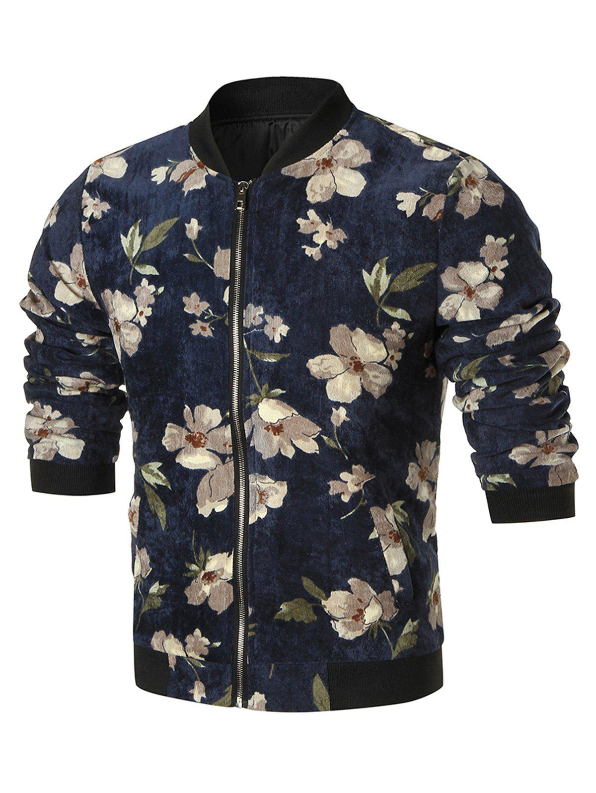 Stand Collar Flower Corduroy Jacket - CADETBLUE XL