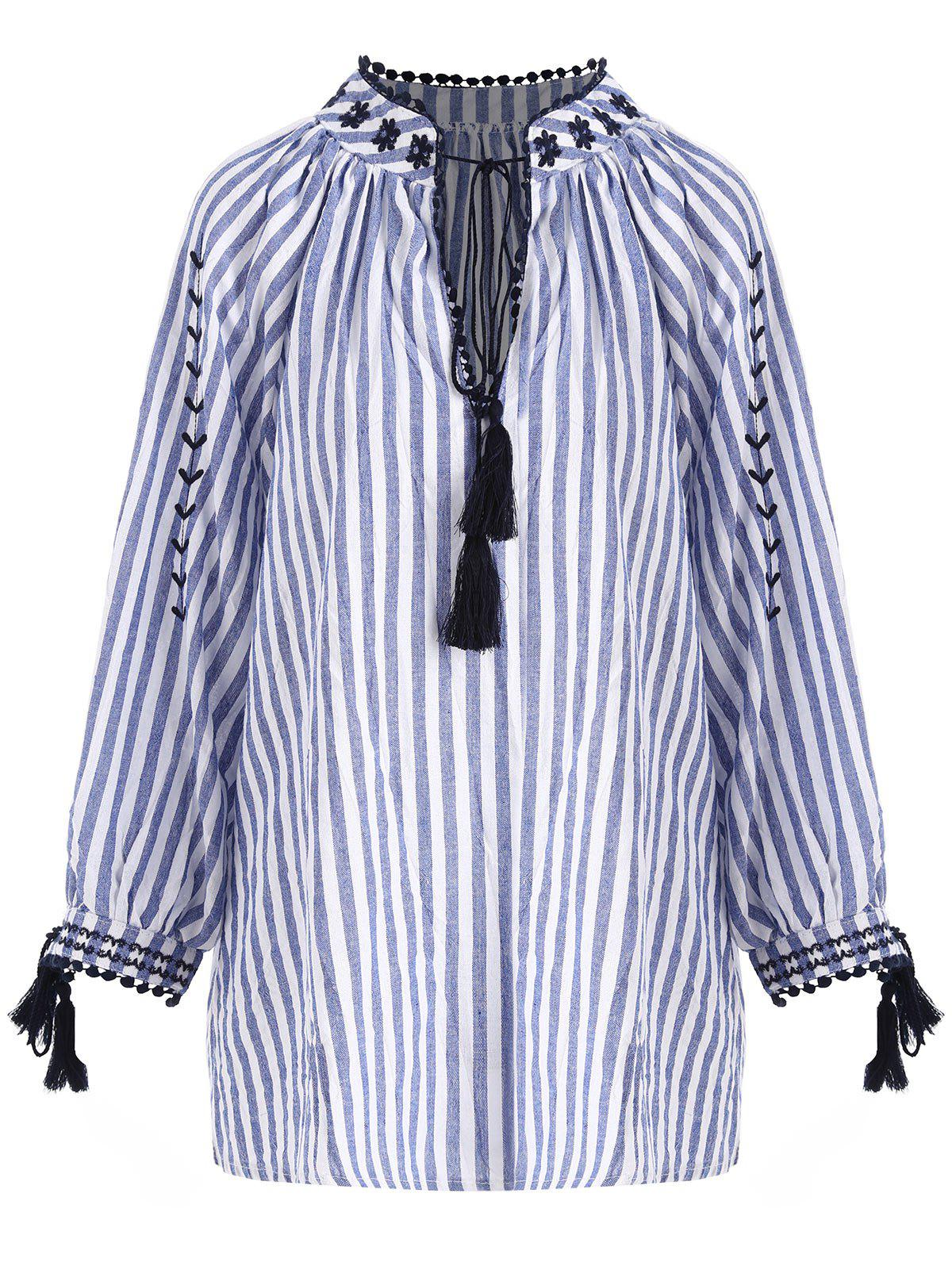 Plus Size Striped Tassel High Low Keyhole Blouse - BLUE STRIPE ONE SIZE