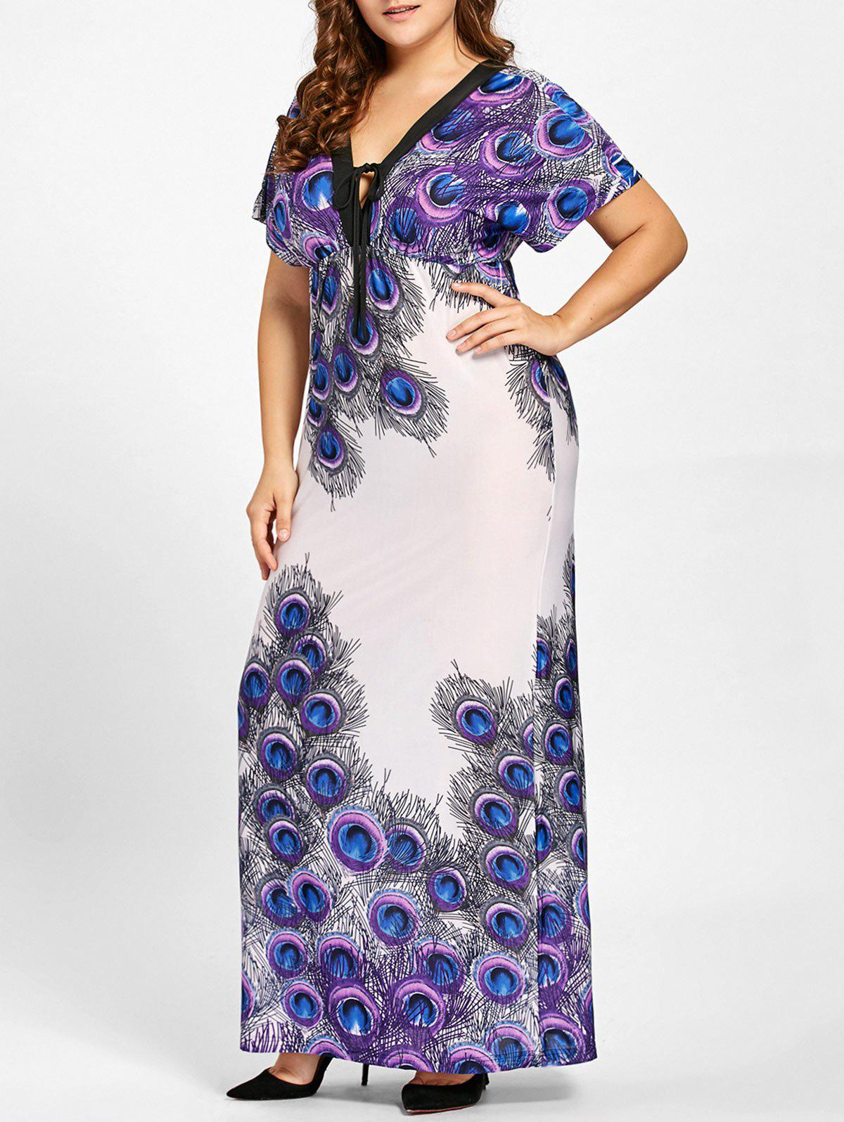 Plus Size Peacock Feather Print Empire Waist Dress - PURPLE 5XL