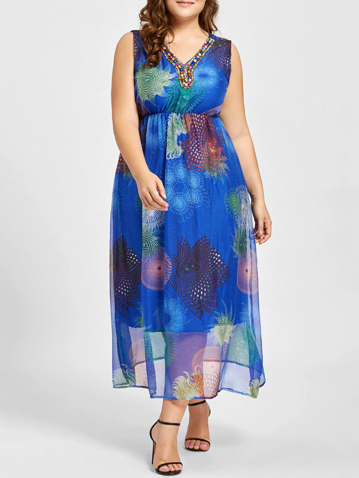 Plus Size Beads Embellished Floral Print Maxi Dress - BLUE 2XL