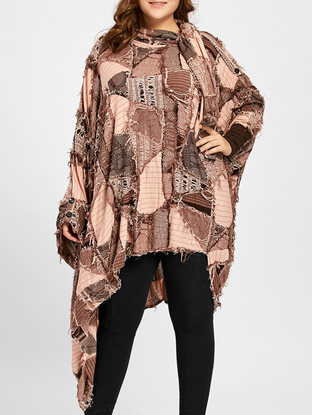 Ripped Plaid Plus Size Poncho T-shirt - CAMEL ONE SIZE