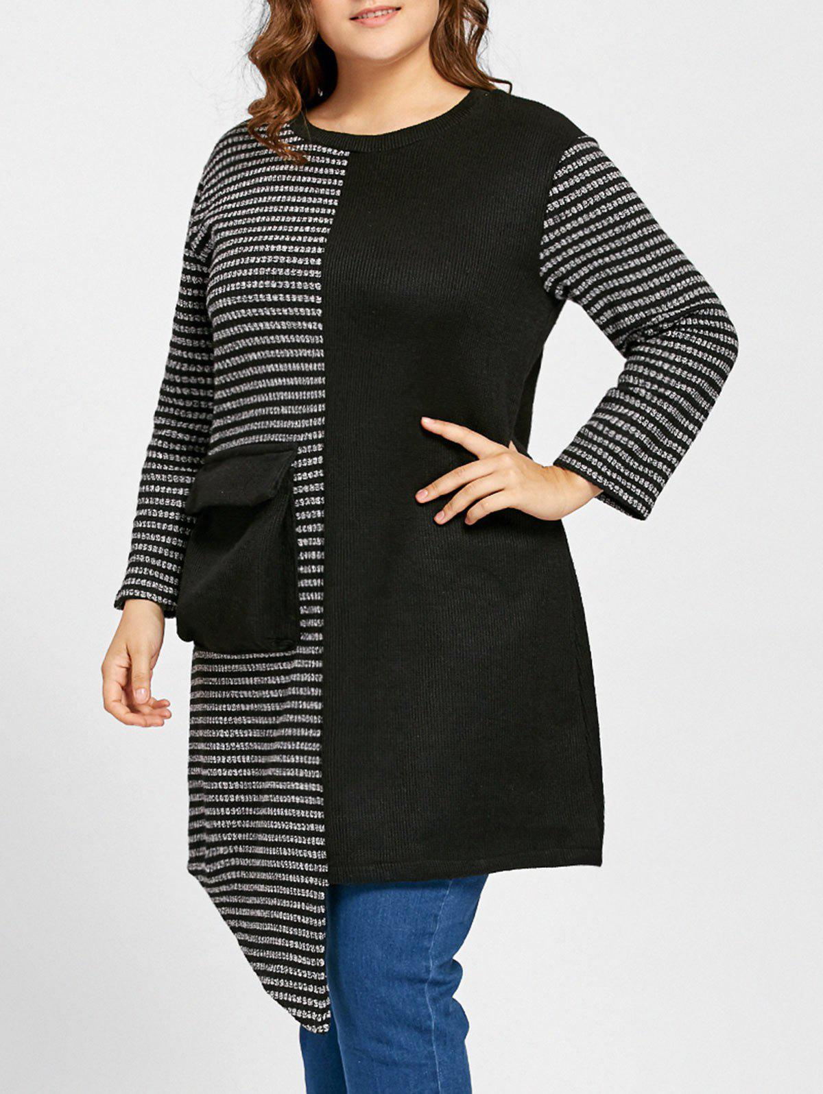 Plus Size Asymmetrical Stripe Panel Sweater - BLACK ONE SIZE