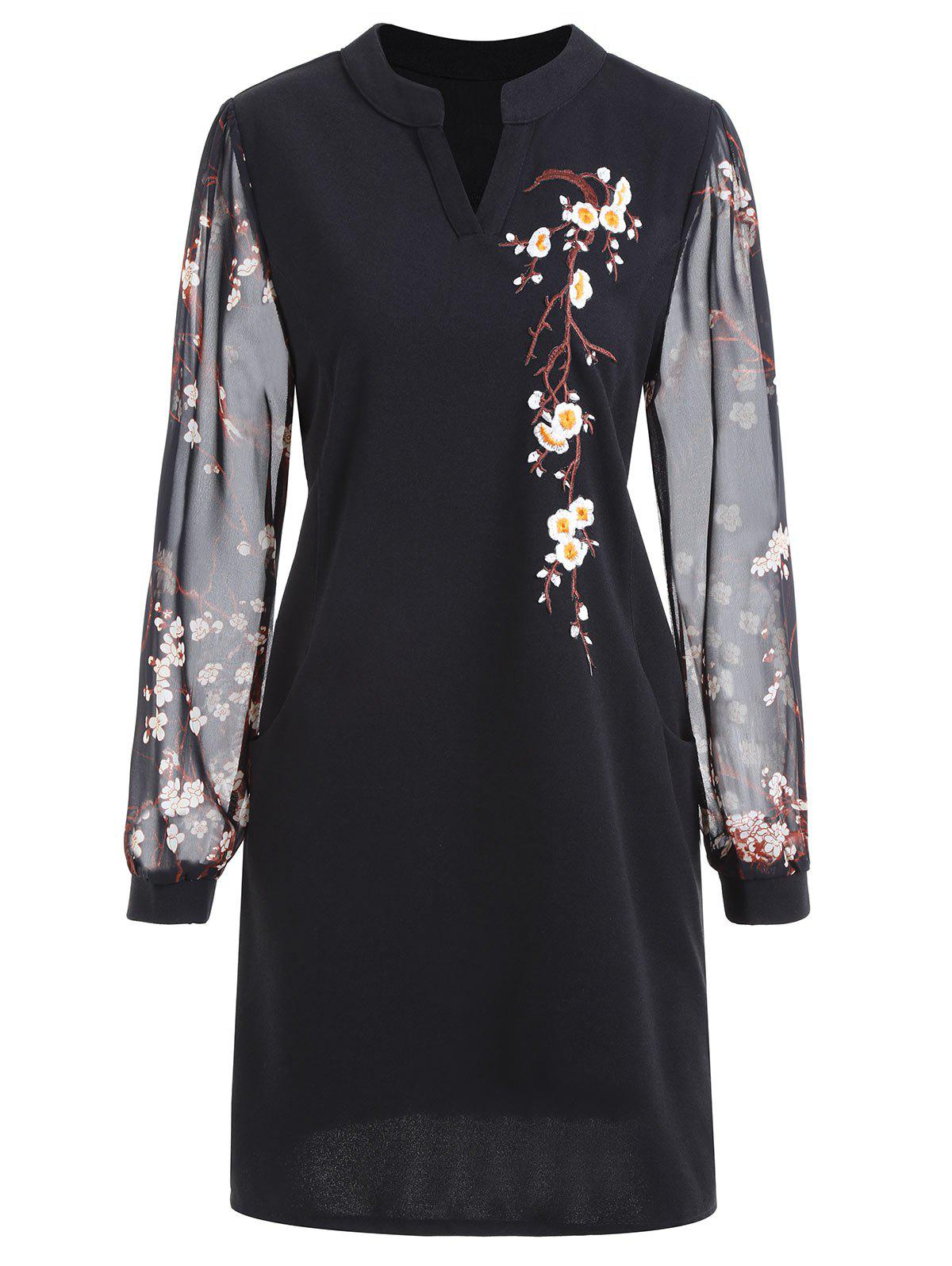 Floral Embroidered Plus Size Mini Dress - BLACK 5XL