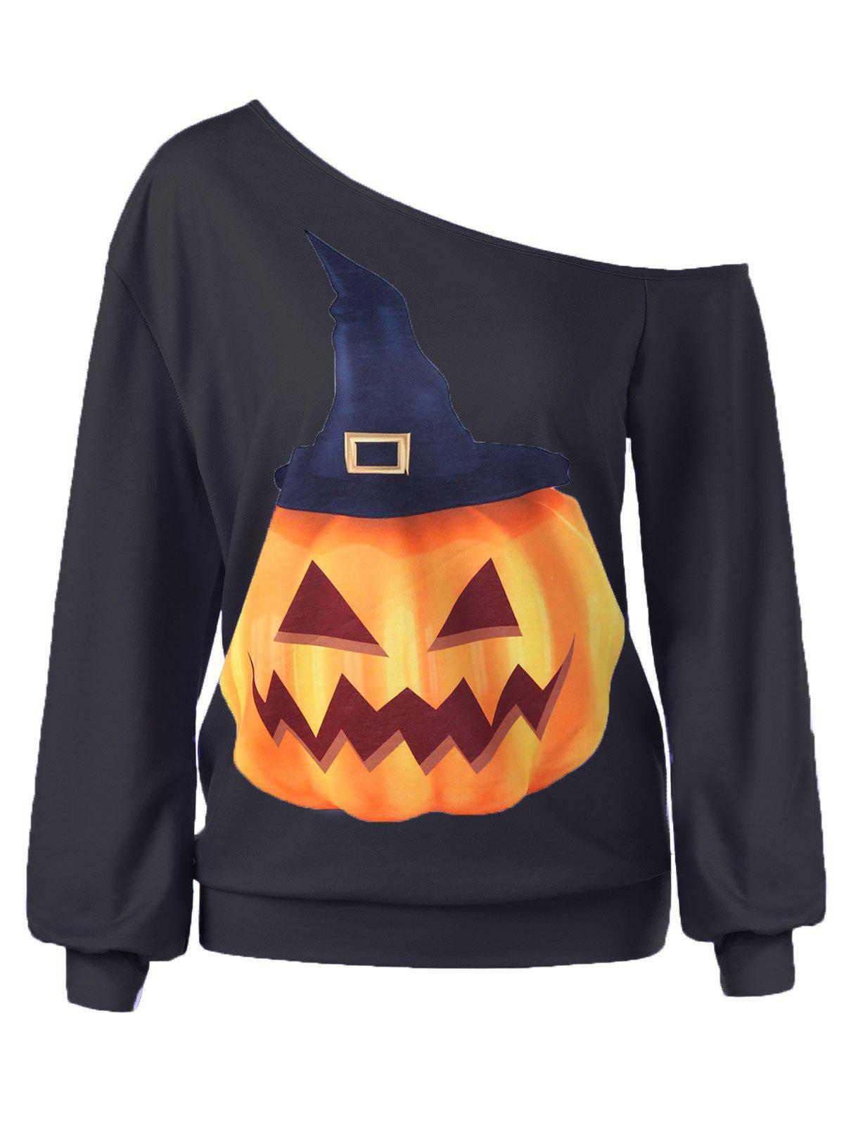 Halloween Plus Size Pumpkin Print Skew Neck Pullover Sweatshirt - BLACK 4XL