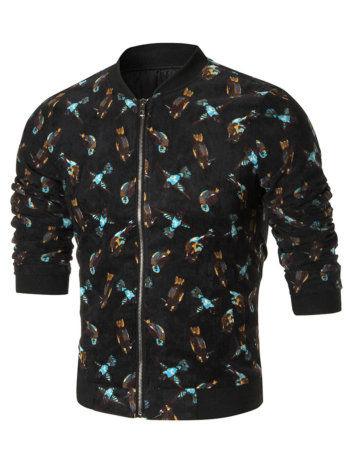 Zip Front Birds Print Corduroy Jacket - BLACK 2XL