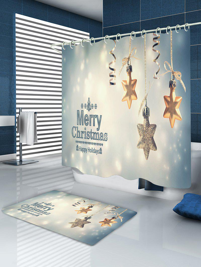 Christmas Snowflake Print Waterproof Bathroom Shower Curtain - COLORMIX W71 INCH * L71 INCH