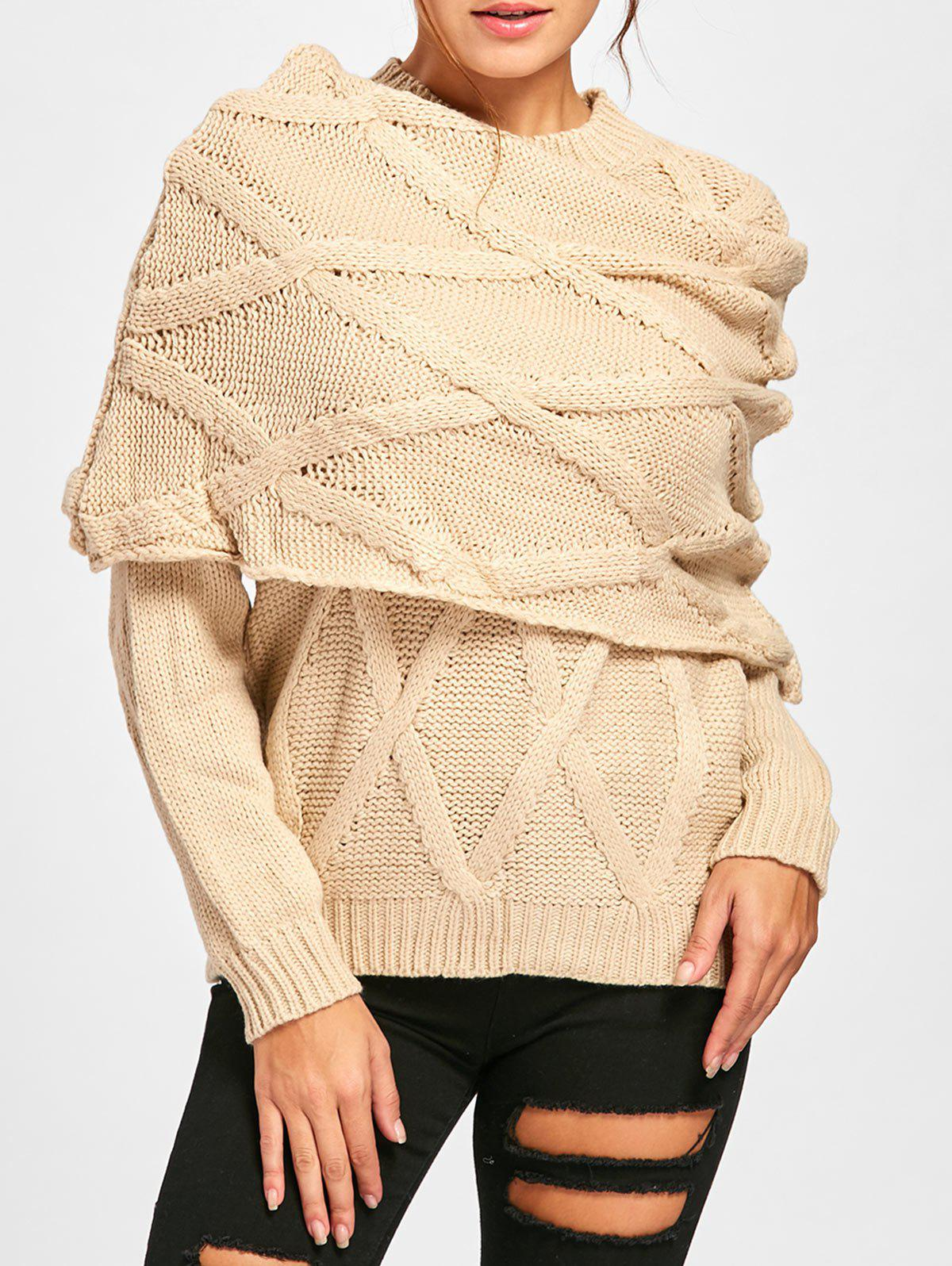Long Sleeve Cable Knit Sweater with Scarf, Beige