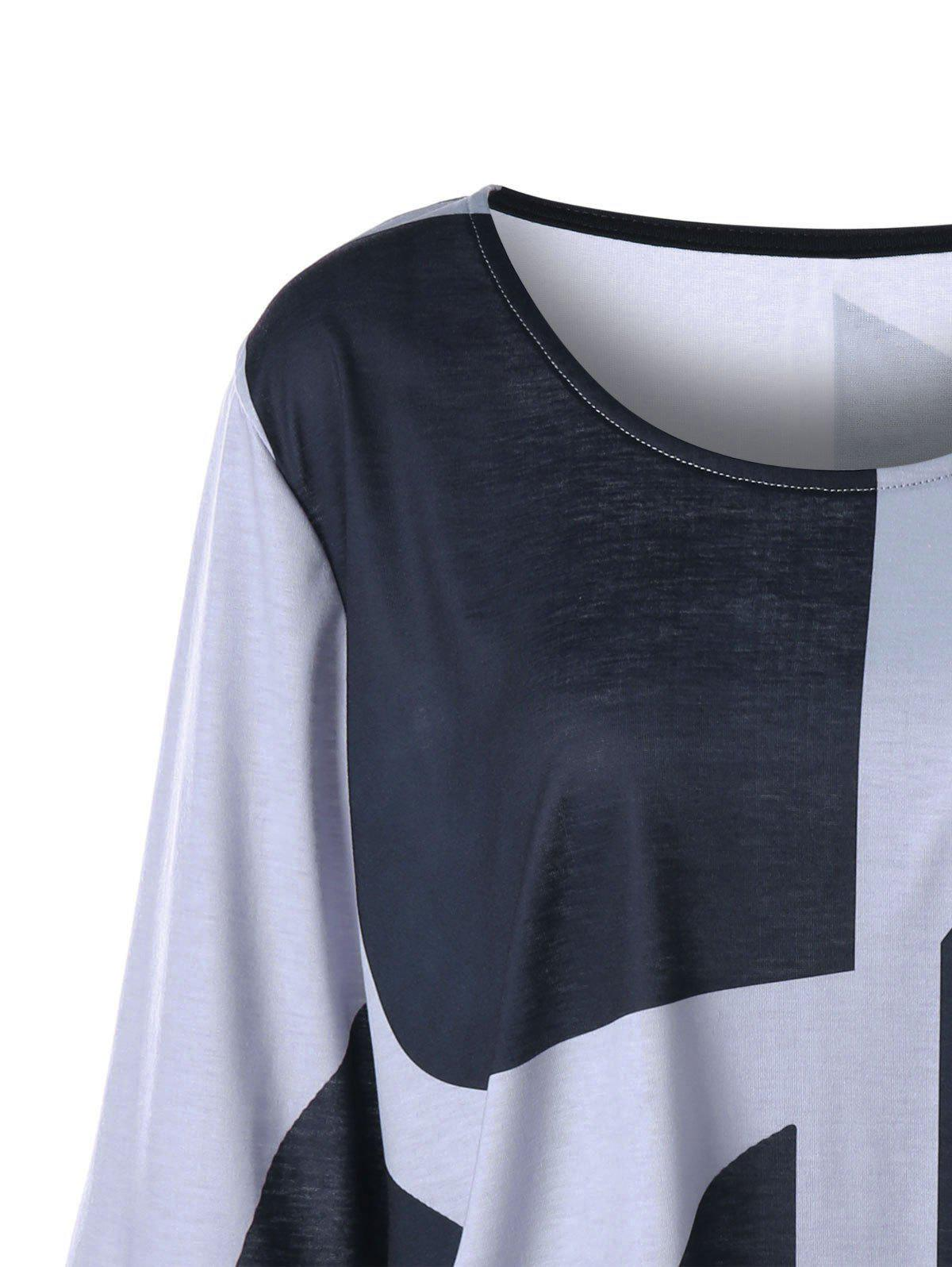 Plus Size Curved Flare Sleeve Top - BLACK/GREY 4XL