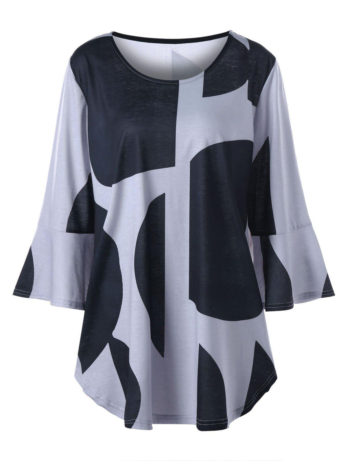 Plus Size Curved Flare Sleeve Top - BLACK/GREY 2XL