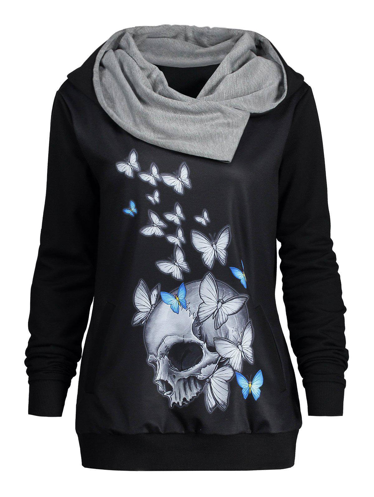 Heaps Collar Halloween Butterfly Skull Print Hoodie - BLACK XL